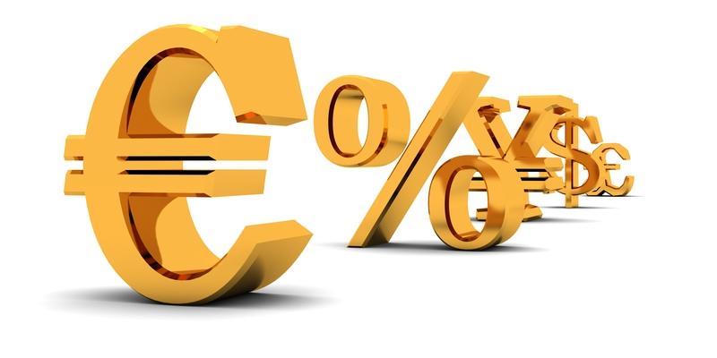 Zlaté nápisy měn a procent
