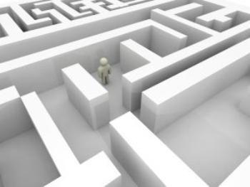 osoba ztracená v labyrintu