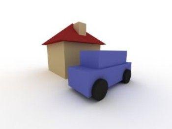 Kreslený symbol domečku a auta